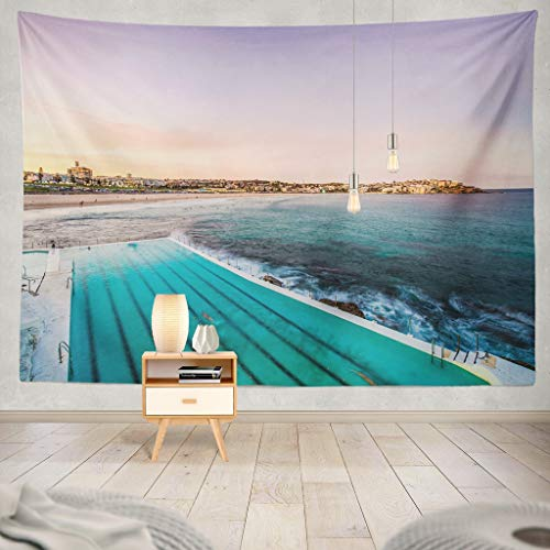 KJONG Beach Sydney from Pool Beach Pool Sydney Australia Sand Australian Blue Coast Holiday Hot Landscape Ocean Sea Decorative Tapestry,60X60 Inches Wall Hanging Tapestry for Bedroom Living Room