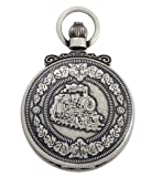 Gotham Men's Antique Silver-Tone Double Cover Exhibition Mechanical Pocket Watch # GWC14065S