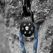 Pulley 26KN Aluminium Alloy Heavy Duty Single Swivel Rope Pulley Block for 12mm Rope Climbing(Black)