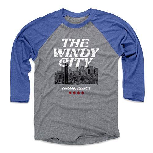 Windy City Baseball (Chicago Tee Shirt (Baseball Tee, Medium, Royal / Heather Gray) - Chicago Illinois Windy City)