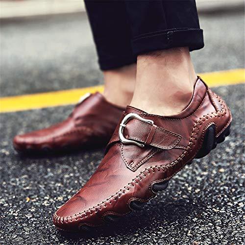 Prueba Antideslizantes Respirable Rojo Zapatos Cuero Hombre Casuales Hebilla Vaca A Mocasines Agua De xqYSH