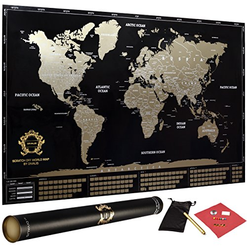 Divalis scratch off world map poster with country flags and us divalis scratch off world map poster with country flags and us states black and gold largedetailed laminated with scratcher gold marker pins gumiabroncs Images
