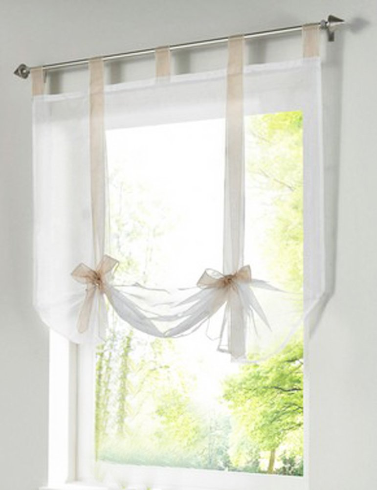 1pcs Bowknot Tie-Up Roman Shades Tab Top LivebyCare Sheer Balcony Balloon Window Curtain Voile Valance Drape Drapery Panels for Coffee House Shop Decor Decorative