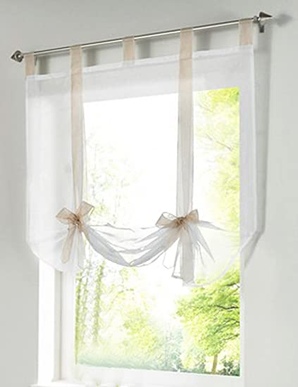 1pcs Bowknot Tie-Up Roman Shades Tab Top LivebyCare Sheer Balcony Balloon Window Curtain Voile