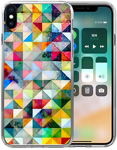 Case for iPhone Xs Max Geometric/IWONE Protective Durable TPU Rubber Fashion Designer Cover Skin Compatible for iPhone Xs Max [10S Max] 6.5 Inches + Colorful Geometric Space Nebula Galaxy