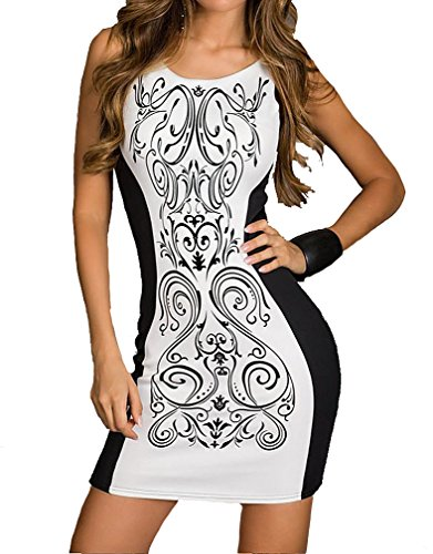 Dear-lover Women's Retro Printed Black and White Patchwork Mini Dress 213, X-Large