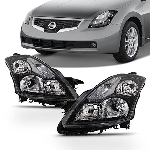 Fits 2007 2008 2009 Altima Sedan Driver & Passenger Both Side Halogen Headlights Headlamps Black