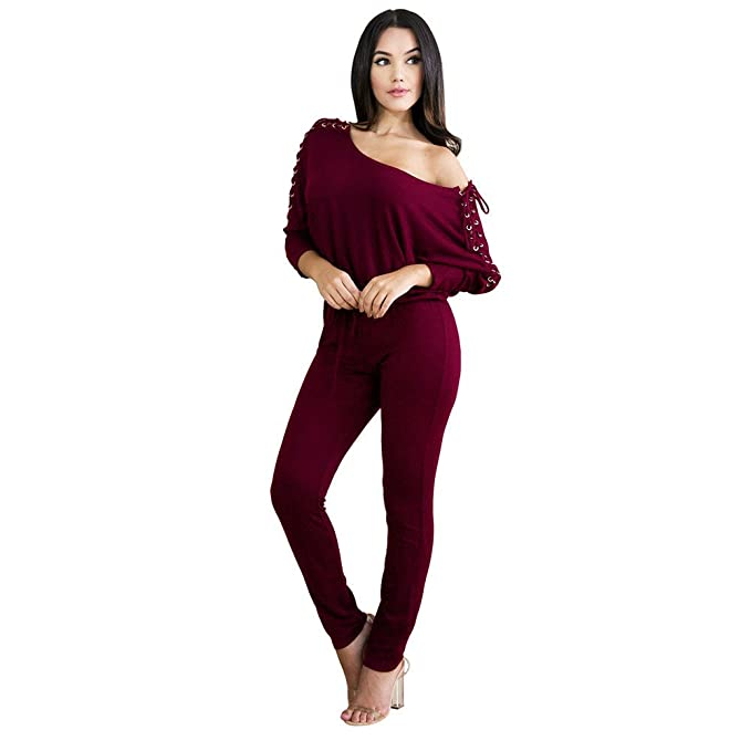 103713f853bb Image Unavailable. Image not available for. Color  TIMEMEANS Womens  Jumpsuit Sexy Overalls Long Sleeve ...
