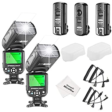 Neewer® NW-561 LCD Screen Flash Speedlite Kit for Canon Nikon and Other DSLR Cameras,include:(2)NW-561 Flash+(1)2.4Ghz Wireless Trigger(1 * Transmitter+ 2 * Receiver)+(1)Microfiber Cleaning Cloth