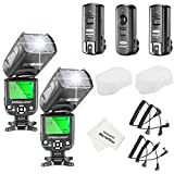 Neewer NW-561 LCD Screen Flash Speedlite Kit for Canon Nikon and Other DSLR Cameras,include:(2)NW-561 Flash+(1)2.4Ghz Wireless Trigger(1 Transmitter+ 2 Receiver)+(1)Microfiber Cleaning Cloth