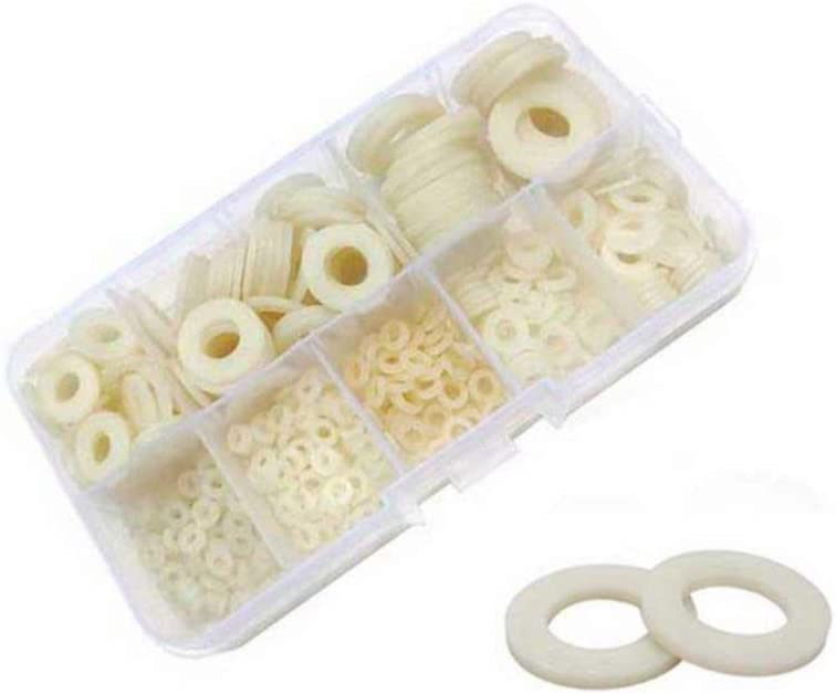 M2.5 M3 M4 M5 M6 M8 Kiwochy 500PCS White Nylon Flat Washer Classification Kit Metric Sealing Washers Hardware Tool Fasteners with Standard Screw Classification Kit 6 Sizes