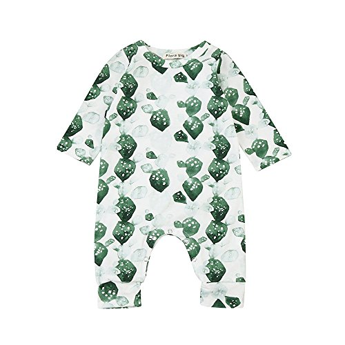 [Birdfly Newborns Tropical Cactus Romper Bodysuit Onesies Long Sleeves Pajamas Infants Toddlers Fall Winter Clothes Outfits (6M, White)] (Hippie Outfit Ideas)