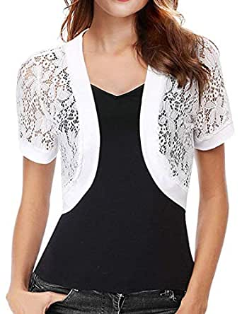 Crochet Lace Jacket for Women Dress Coverup Cardigan Bolero Shrug Plus (White,S)