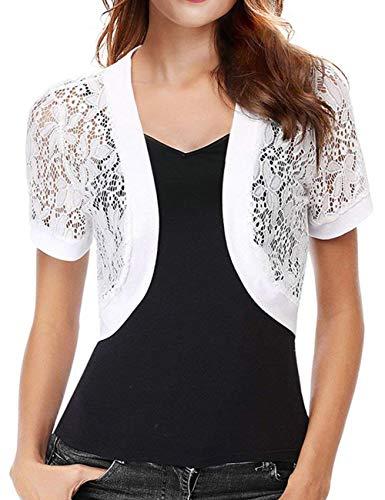 (Short Dress Jacket for Women Lace Cardigan Floral Lace Crochet Sweater(White,XL))
