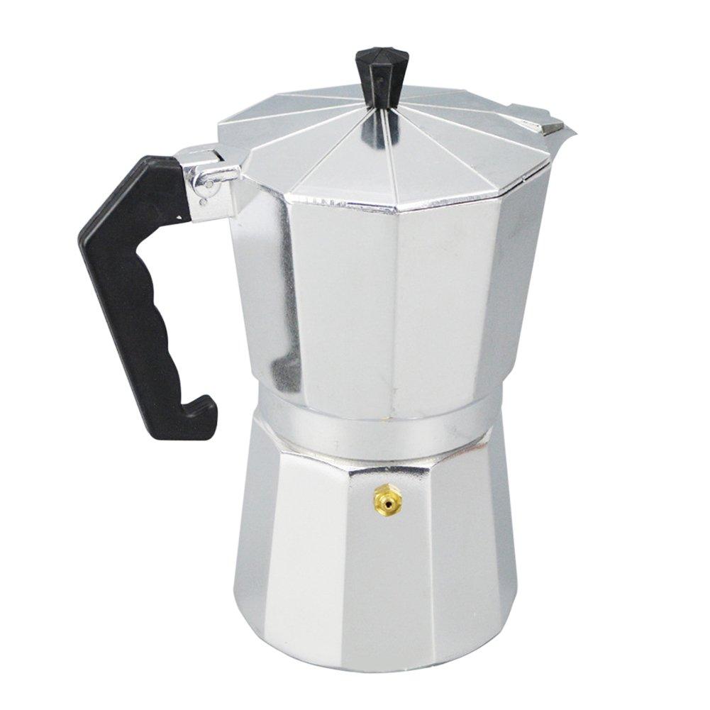 Acquisto Caffettiera Caffettiera Caffettiera Moka Utensile per top in alluminio 1/3/6/9/12 Coppa facile da pulire per utensili da caffè per il tè di casa(50mlArgento E Nero) Prezzi offerta