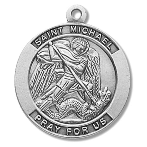 St. Michael Large Round Sterling Silver Medal on 24