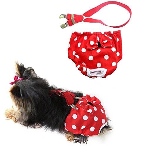 Pictures of FunnyDogClothes Dog Diaper With Suspenders RED POLKA 2