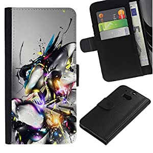 KLONGSHOP // Tirón de la caja Cartera de cuero con ranuras para tarjetas - Diseño abstracto - HTC One M8 //