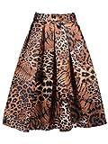 Search : Choies Women's Print Floral Midi Skirt(Tiger Pattern/Yellow White Leopard)