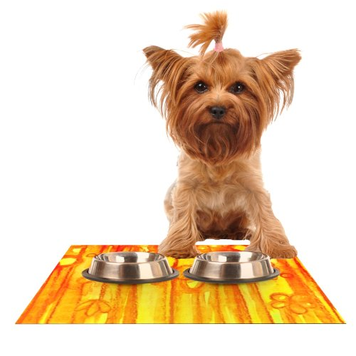 KESS InHouse Ebi Emporium Summer Sentiments  Feeding Mat for Pet Bowl, 24 by 15-Inch