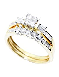 10K Gold Bridal Wedding Set 2pc Set 0.60cttw Diamond