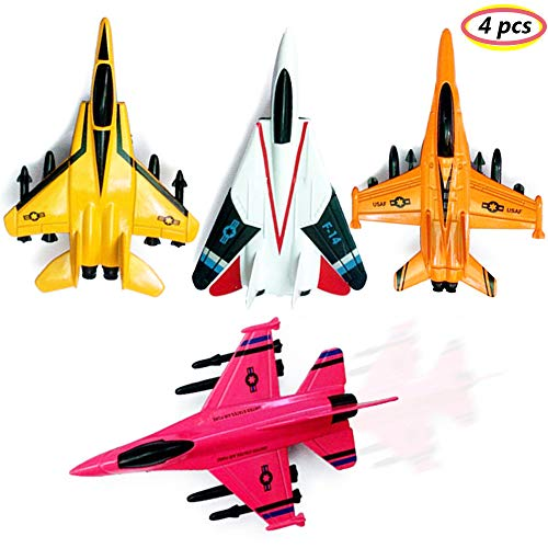 (UiiQ Pull Back Airplane Toy Set Die Cast Metal Military Themed Fighter Jets, Perfect for Kids Toy Set Collection - 4 Pcs(Red) )