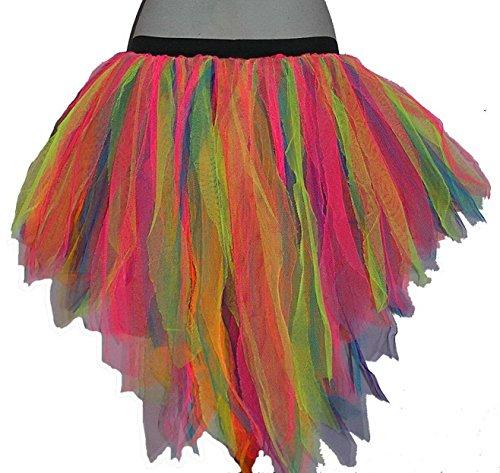 [Multi Rainbow Trashy Bustle Peacock Seven Layer Trashy Tutu Skirt Halloween] (Peacock Spider Costume)