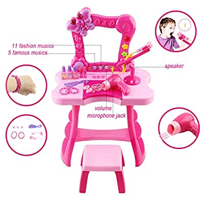 Kalmstore Girls Pretend Play Dressing Table Top Set Fantasy Vanity Beauty Dresser Table with Sounds, Hi-fi Microphone & Makeup Accessories (Hot Pink A): Clothing