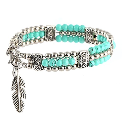 HZMAN My Lucky Feathers Pendant Bracelet Tibetan Silver Alloy Turquoise Beads (Green)