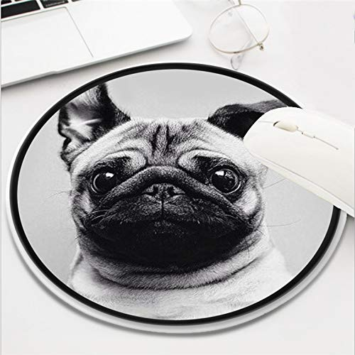 Mops Hund-Mouse Pad Mouse Mat for Computer Round Funny Non-Slip Rubber Material(8 Inch)