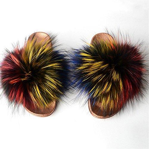 Toe Fox Slip Sandals Black k qmfurWomen Fur Silver Glod Sole Glod Slippers Multicolor Open Slides Fur Single Real On Strap 5SqgqfX