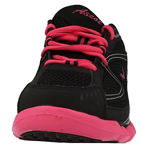 Ascot Ladies Spring Wave Casual Lace up Trainers Black/Fuchsia GtPralQz
