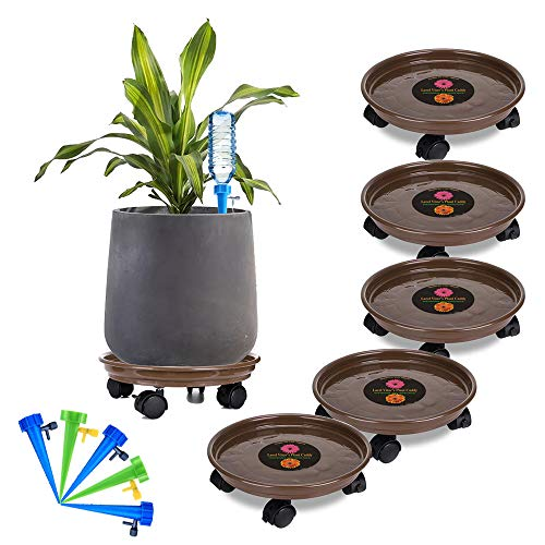 Murilan 5 Pack Plant Caddy Heavy Duty, Potted Plant Stand with Wheels, Round Flower Pot Mover, Rollers Dolly Holder Indoor Outdoor Rolling Tray Coaster,Brown