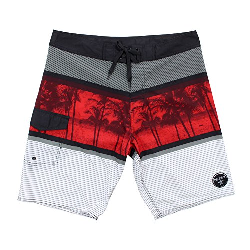 [Molokai Mens Summer Time Stretch Boardshorts (36, Red )] (Xxl Santa Suits For Sale)