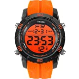 SMAEL Fashion Watches Men Orange Casual Digital Watches Sports LED Clock Male Automatic Date Watch Men's Wristwatch Waterproof 1145 Series (Orange)