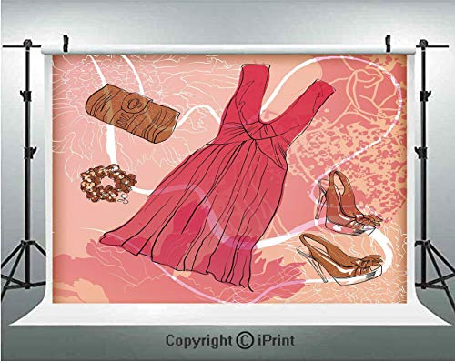 - Heels and Dresses Photography Backdrops Spring Inspired Floral Abstract Backdrop Pink Dress Shoes Bracelet Decorative,Birthday Party Background Customized Microfiber Photo Studio Props,5x3ft,Pink Brow