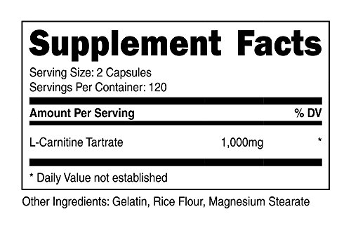 Nutricost L Carnitine Tartrate 500mg, 240 Capsules 1000mg Per Serving