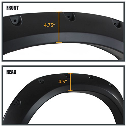 Includes All Installation Hardware Decorative Stainless Steel Bolts and Protective Rubber Gasket Edge Liner Cold//Crack Resistant 2009-2018 Ram 1500 Fender Flares Pocket Style Paintable Set of Four Instructions No-Cut No-Drill installation