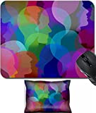 MSD Mouse Wrist Rest and Small Mousepad Set, 2pc Wrist Support design 32504065 Social collaboration network and people networking communication as a connected group of people faces