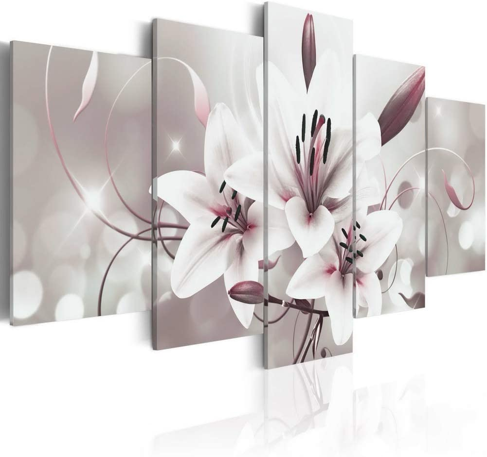 Melpa Art 5 panels Modern White Flower Canvas Print Picture Contemporary Abstract Wall Art Lily Floral Paintings Home Decor Framed Artwork for Living Room