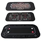 3 in 1 Folding Casino Texas Hold'em Table Top Black (Poker/Craps/Roulette) with Carrying Bag