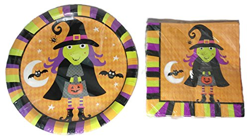 Whimsical Halloween Plate and Napkin Set ~ Serves 18 (Witch) ()