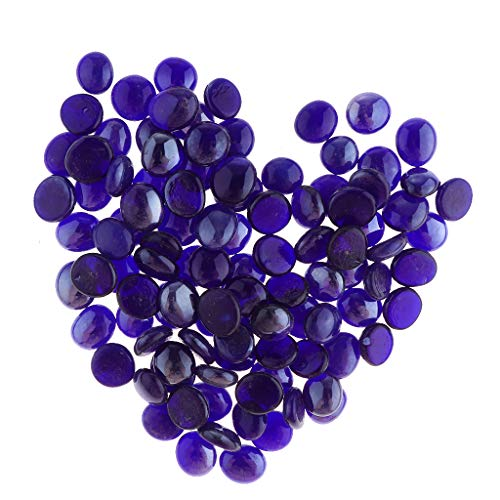 (Flameer 100Pieces Transparent Marbles, Fishtank Pebble for Aquarium Table Scatter Decor, Approx.12-17mm Size Mixed - Sapphire Blue)