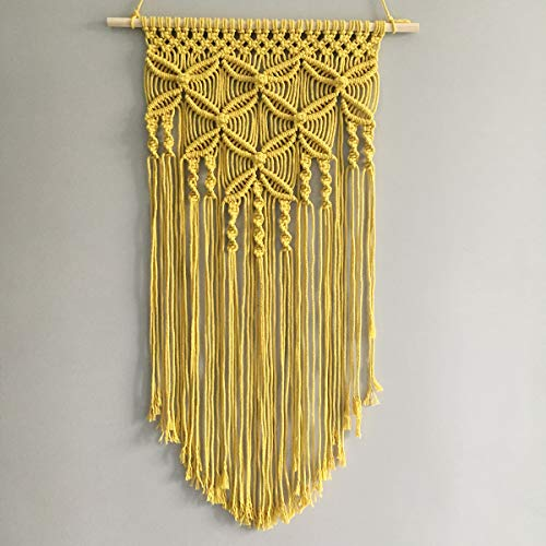 Winterdemoon Handmade Cotton Home Decor Macrame Wall Hanging Yellow (Yellow Wall Art)