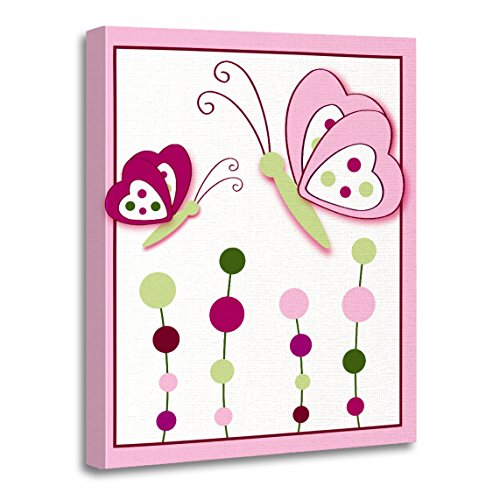 - TORASS Canvas Wall Art Print Pink Butterflies Raspberry Swirl Butterfly Flower Artwork for Home Decor 12