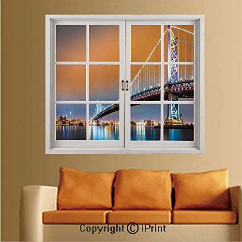 Removable and Stick Wallpaper,Home Decor,Wallpaper/Removable Modern Decorating Wall Art,W36 xL48,Ben Franklin Bridge and Philadelphia Skyline Viewed from Camden Across The Delaware River Decorative