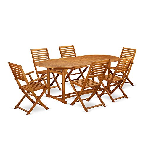 East West Furniture BSBS72CANA This 7 Piece Acacia Solid Wood Balcony Dining Sets Includes an Outdoor Table and Four Side Patio Dining Chairs and 2 arm Foldable Outdoor Chairs