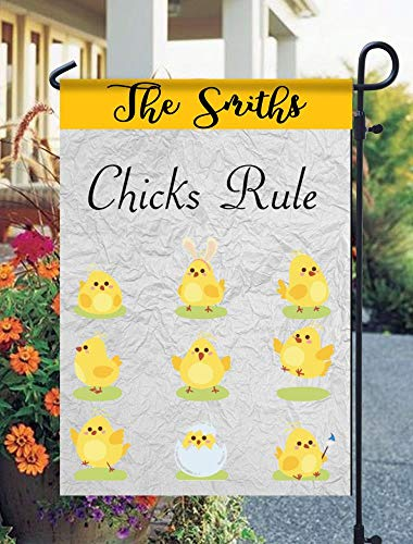 (Tow Yus Dala Polyester Garden Flag for House Decor-Chicks Rule (2 Sides Print))