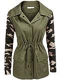 Zeagoo Women's Camo Utility Field Jacket (Armygreen, S)