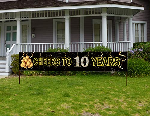 Wedding Anniversary Banners (Large Cheers to 10 Years Banner, Black Gold 10th Anniversary Party Sign, 10th Wedding Anniversary)